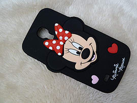 DIA BLACK MINNIE MOUSE SILICONE CASE COVER TO FIT SAMSUNG GALAXY S4 MINI I9190 (B8 BLACK) Mobile phones