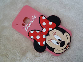DIA BIG FACE MINNIE MOUSE SILICONE CASE COVER TO FIT HTC ONE M9 (B8 LIGHT PINK) Mobile phones