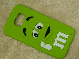 DIA GREEN M & M CHOCOLATE BEAN SILICONE CASE COVER TO FIT SAMSUNG GALAXY S6 (D4 GREEN) Mobile phones