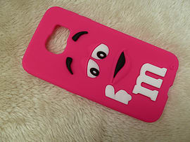 DIA HOT PINK M & M CHOCOLATE BEAN SILICONE CASE COVER TO FIT SAMSUNG GALAXY S6 (D4 HOT PINK) Mobile phones