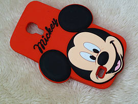 DIA BIG FACE MICKEY MOUSE SILICONE CASE COVER TO FIT SAMSUNG GALAXY S4 MINI I9190 (C15 RED) Mobile phones