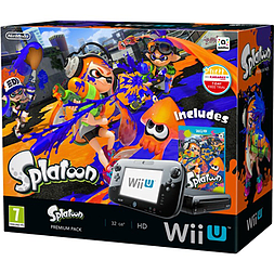Black Wii U Premium with Splatoon Wii U