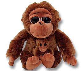 Petjes Pocketz Orangutan with Baby Soft Toy Pre School Toys