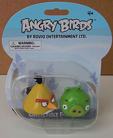Angry Birds Collectible Figures Yellow Bird and Green Pig Figurines and Sets
