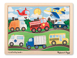 Melissa & Doug Vehicles Jigsaw (12 Pieces) Traditional Games