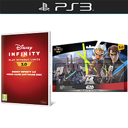 Disney Infinity 3.0 Software Disc with Twilight of the Republic Play Set Bundle and Toy Box Takeover Expansion Game Piece PlayStation 3