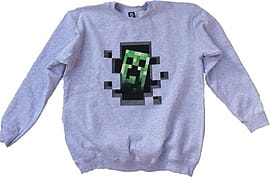 Minecraft Mine Craft Creeper Inside Sweater Grey Jumper Clothing