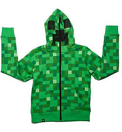 JINX Minecraft Creeper Premium Zip-Up Youth Hoodie Green Medium Clothing