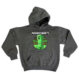 Boys Minecraft Retro Creeper Character Print Hoody Jumper Charcoal 5/6 Yr Clothing