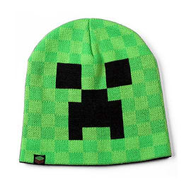Minecraft Character Boys Vibrant Green Black Creeper Knitted Winter Beanie Hat (Small / Medium ) Clothing