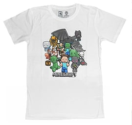 Minecraft Game Character Party Print Short Sleeve Boys T-Shirt White 5/6 Yr Clothing