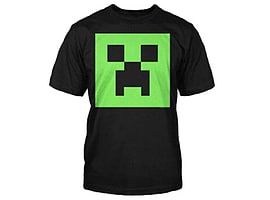 Jinx Minecraft Creeper Glow in the Dark Face Youth Black T-shirt Clothing