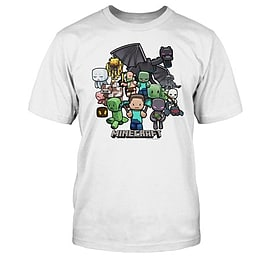 Boys Minecraft Game Character Party Print Short Sleeve Boys T-Shirt White Youth Age 12-13 Clothing