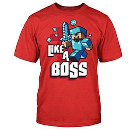 Boys Minecraft Like A Boss Character Print Short Sleeve T-Shirt Red 7/8 Yr Clothing