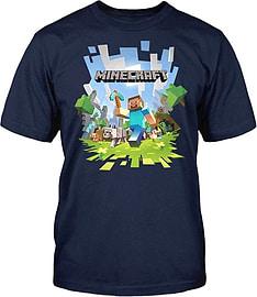 Boys Minecraft T-shirt | Mine Craft Tshirt | Adventure Logo with Steve (7-8 Years) Clothing