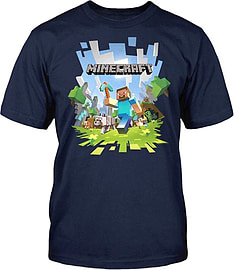 Boys Minecraft T-shirt | Mine Craft Tshirt | Adventure Logo with Steve (12-13 Years) Clothing