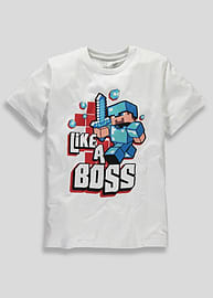 Minecraft Game Like A Boss Miner Character Short Sleeved Boys T-Shirt (9/10 Years ) Clothing
