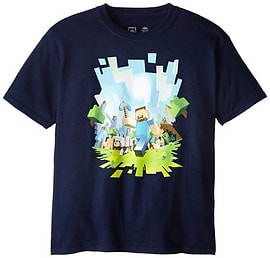 Old Glory - Minecraft - Boys Adventure Youth T-shirt - X-Large Dark Blue Clothing