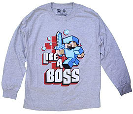 Boys 6-12 Minecraft Like A Boss Long Sleeve Youth T-Shirt, Grey (Youth X-Larg) Clothing