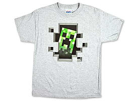 Minecraft T-Shirt - Creeper Inside (Silver) - (KIDS SIZES) (X-Large (36 Chest)) Clothing
