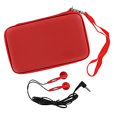ZedLabz EVA hard travel case & headphones for Nintendo DS Lite, DSi & 3DS - Red 3DS