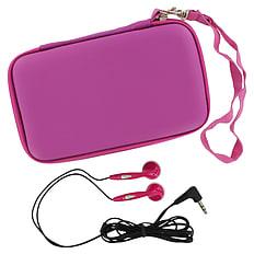 ZedLabz EVA hard travel case & headphones for Nintendo DS Lite, DSi & 3DS - Pink 3DS