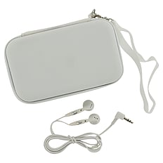 ZedLabz EVA hard travel case & headphones for Nintendo DS Lite, DSi & 3DS - White 3DS