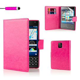 Blackberry Stylish PU Leather Wallet Case - Hot Pink Mobile phones