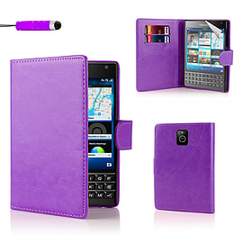 Blackberry Stylish PU Leather Wallet Case - Purple Mobile phones
