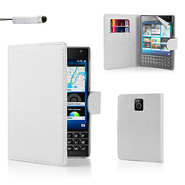 Blackberry Stylish PU Leather Wallet Case - White Mobile phones