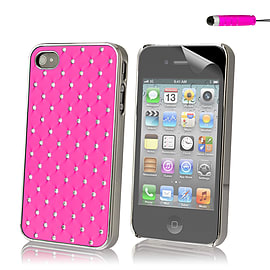 Apple iPhone 4/4s Diamond Twinkle Hard Back Case - Hot Pink Mobile phones