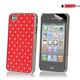 Apple iPhone 4/4s Diamond Twinkle Hard Back Case - Red Mobile phones