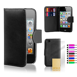 Apple iPhone 4/4s Stylish PU Leather Wallet Case - Black Mobile phones