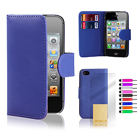 Apple iPhone 4/4s Stylish PU Leather Wallet Case - Deep Blue Mobile phones