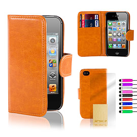 Apple iPhone 4/4s Stylish PU Leather Wallet Case - Orange Mobile phones
