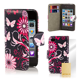 Apple iPhone 4/4s Stylish Design PU Leather Wallet Case - Gerbera Mobile phones