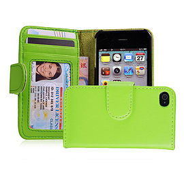 Apple iPhone 4/4s Stylish PU Leather ID Wallet Case - Green Mobile phones