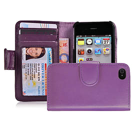 Apple iPhone 4/4s Stylish PU Leather ID Wallet Case - Purple Mobile phones