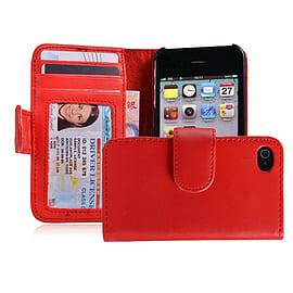 Apple iPhone 4/4s Stylish PU Leather ID Wallet Case - Red Mobile phones