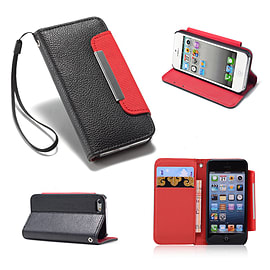 Apple iPhone 4/4s Stylish PU Leather Stand Book Case - Black Mobile phones