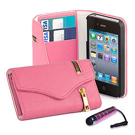 Apple iPhone 4/4s Stylish PU Leather Zip Wallet Case - Pink Mobile phones