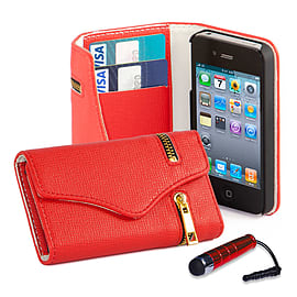 Apple iPhone 4/4s Stylish PU Leather Zip Wallet Case - Red Mobile phones