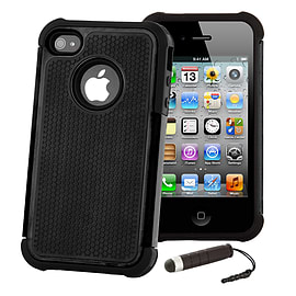 Apple iPhone 4/4s Dual Layer Shockproof Case - Black Mobile phones