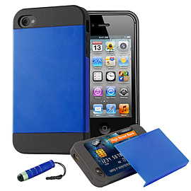 Apple iPhone 4/4s Dual Layer Smooth Shockproof Case - Deep Blue Mobile phones