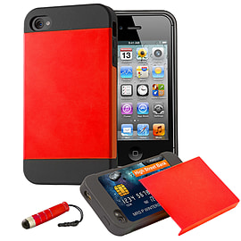 Apple iPhone 4/4s Dual Layer Smooth Shockproof Case - Red Mobile phones