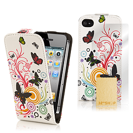 Apple iPhone 4/4s Stylish PU Leather Design Flip Case - Colour Butterfly Mobile phones