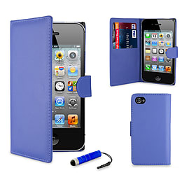 Apple iPhone 5/5s Stylish PU Leather Wallet Case - Deep Blue Mobile phones