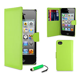 Apple iPhone 5/5s Stylish PU Leather Wallet Case - Green Mobile phones