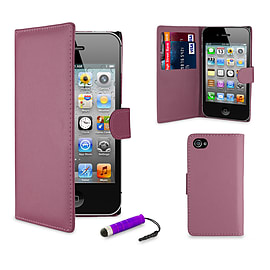 Apple iPhone 5/5s Stylish PU Leather Wallet Case - Purple Mobile phones