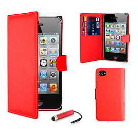 Apple iPhone 5/5s Stylish PU Leather Wallet Case - Red Mobile phones